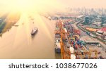 container ship in export and...   Shutterstock . vector #1038677026