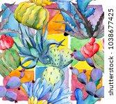 wildflower cactus flower... | Shutterstock . vector #1038677425