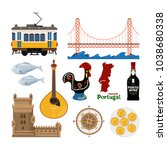 portuguese vector icon set in... | Shutterstock .eps vector #1038680338
