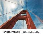 golden gate bridge  a closeup... | Shutterstock . vector #1038680602