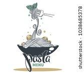 pasta menu  hand drawn sketch... | Shutterstock .eps vector #1038685378