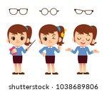 vector set of cute women ... | Shutterstock .eps vector #1038689806