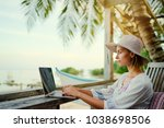 technology and travel. working... | Shutterstock . vector #1038698506
