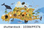 isometric 3d north america... | Shutterstock .eps vector #1038699376