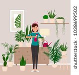 a girl florist takes care of... | Shutterstock .eps vector #1038699502