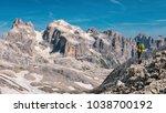 panoramic view of man walking... | Shutterstock . vector #1038700192
