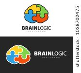 Stock vector brain logo design concept brain puzzle vector symbol badge logo 1038702475