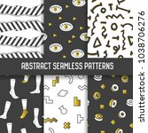 abstract seamless patterns set. ... | Shutterstock .eps vector #1038706276