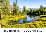 mountain green forest river...   Shutterstock . vector #1038706672