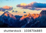 Mountain peaks sunset landscape....