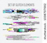 glitch effect elements set. tv... | Shutterstock .eps vector #1038707002