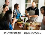 diverse people joining cooking... | Shutterstock . vector #1038709282