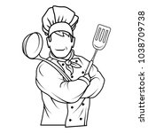 chef cook standing in a...   Shutterstock .eps vector #1038709738
