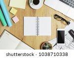 top view of wooden office... | Shutterstock . vector #1038710338