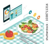 food and diet app with... | Shutterstock .eps vector #1038711316