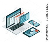 web anf software development ... | Shutterstock .eps vector #1038711322