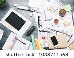 top view of creative messy desk ... | Shutterstock . vector #1038711568
