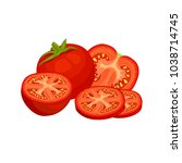 vector group of tomatoes on a... | Shutterstock .eps vector #1038714745