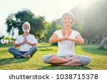 yoga at park. middle aged... | Shutterstock . vector #1038715378