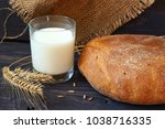 black bread and milk   Shutterstock . vector #1038716335