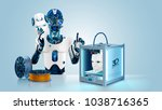 anthropoid robot printed mask... | Shutterstock .eps vector #1038716365