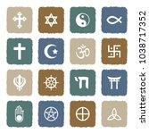 religion symbols icons. grunge... | Shutterstock .eps vector #1038717352