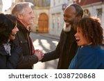group of mature friends meeting ... | Shutterstock . vector #1038720868