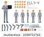 businessman in grey suit... | Shutterstock .eps vector #1038721762