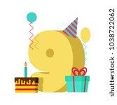 9 year greeting card birthday.... | Shutterstock .eps vector #1038722062