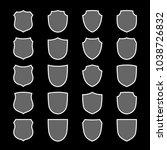 shield shape icons set. gray... | Shutterstock .eps vector #1038726832