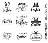 happy easter lettering  logo... | Shutterstock .eps vector #1038727498