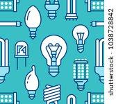light bulbs seamless pattern... | Shutterstock .eps vector #1038728842