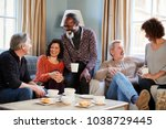 group of middle aged friends... | Shutterstock . vector #1038729445