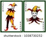 joker in colorful costume...   Shutterstock .eps vector #1038730252