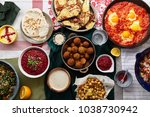 overhead image of traditional... | Shutterstock . vector #1038730942