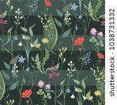 herbs and wild flowers vector...   Shutterstock .eps vector #1038731332
