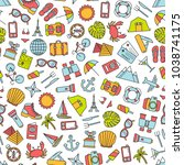 seamless pattern with traveling ... | Shutterstock .eps vector #1038741175