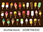 ice cream set  ice lolly ... | Shutterstock .eps vector #1038746332