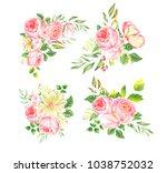 delicate watercolor bouquet of... | Shutterstock . vector #1038752032