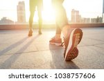 close up on woman's legs and... | Shutterstock . vector #1038757606