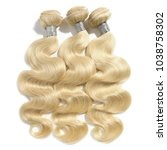 body wave blonde human hair... | Shutterstock . vector #1038758302