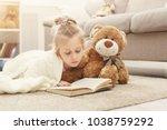 cute happy little casual girl... | Shutterstock . vector #1038759292