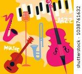 jazz music festival poster with ...   Shutterstock .eps vector #1038761632