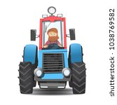 a bearded farmer in a tractor.... | Shutterstock .eps vector #1038769582