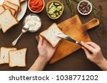 woman cooking tasty sandwich... | Shutterstock . vector #1038771202