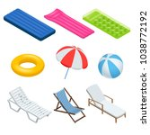 isometric icons set of beach... | Shutterstock .eps vector #1038772192