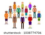 group older people. aged people ... | Shutterstock . vector #1038774706