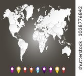 world map. set of color pointers | Shutterstock .eps vector #1038776842