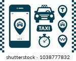 taxi icons set. flat style dark ...   Shutterstock .eps vector #1038777832