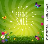 spring sale poster with... | Shutterstock .eps vector #1038779626